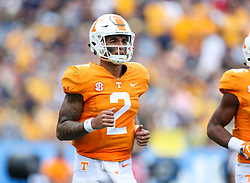 Sep 1, 2018; Charlotte, NC, USA; Tennessee Volunteers quarterback Jarrett Guarantano (2) runs off the field against the West Virginia Mountaineers during the second quarter at Bank of America Stadium. Mandatory Credit: Ben Queen-USA TODAY Sports