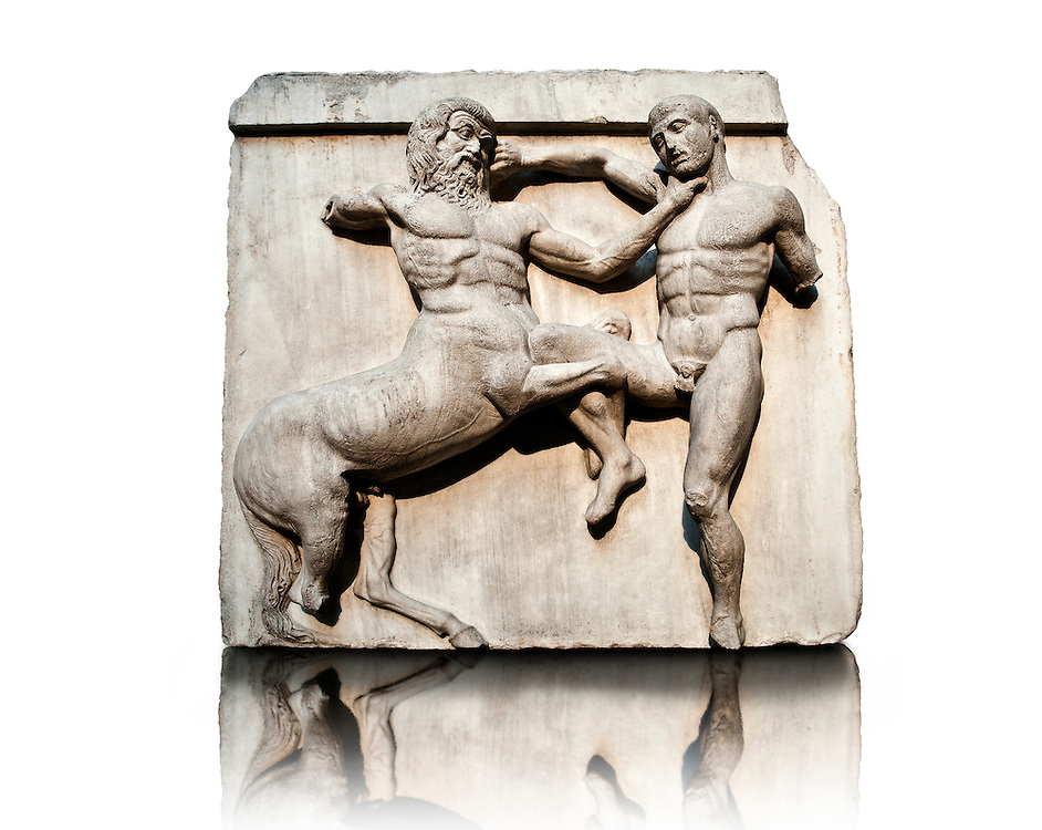 Sculpture of Lapiths and  Centaurs battling from the south east corner Metope of the Parthenon on the Acropolis of Athens no XXXII. Also known as the Elgin marbles. British Museum London.