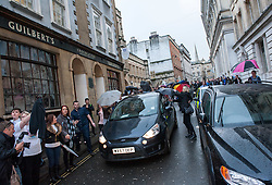© Licensed to London News Pictures. 13/11/2015. Bristol, UK.  A car with DARREN GALSWORTHY the father of murder victim Rebecca Watts, and his wife ANJIE GALSWORTHY, the mother of Nathan Matthews who has been convicted of Becky Watts' murder, drives away from Bristol Crown court on the day Nathan Matthews is sentenced to a minimum of 33 years for the murder of Rebecca Watts, and his girlfriend Shauna Hoare is sentenced to 17 years for manslaughter.  Photo credit : Simon Chapman/LNP