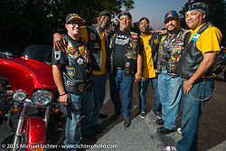 Members of the Flying Eagles with members of the Latin American Motorcycle Association at a Club meetup at the American Legion in Catonsville, MD with the Flying Eagles MC (founded 1950). USA. August 16, 2015.  Photography ©2015 Michael Lichter.