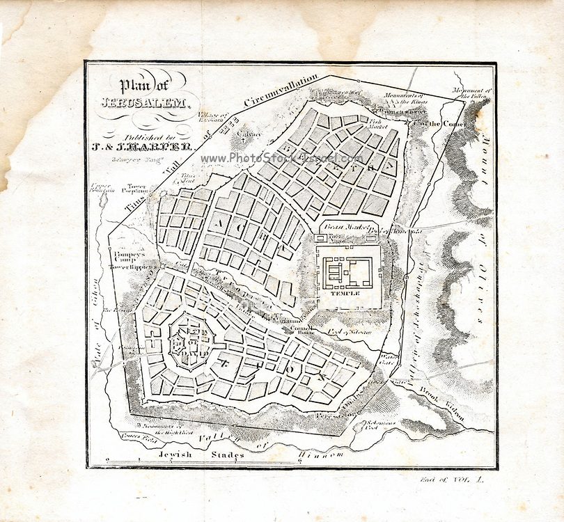 """Plan of Jerusalem 1841 Originally from """"The history of the Jews : from the earliest period to the present time"""" Scanned map showing mid 19th century interpretation of ancient Jerusalem"""