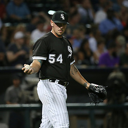 July 19, 2017 - Chicago, IL, USA - Chicago White Sox relief pitcher Chris Beck (54) reacts after giving up an RBI double to the Los Angeles Dodgers' Chris Taylor in the sixth inning at Guaranteed Rate Field in Chicago on Wednesday, July 19, 2017. (Credit Image: © John J. Kim/TNS via ZUMA Wire)