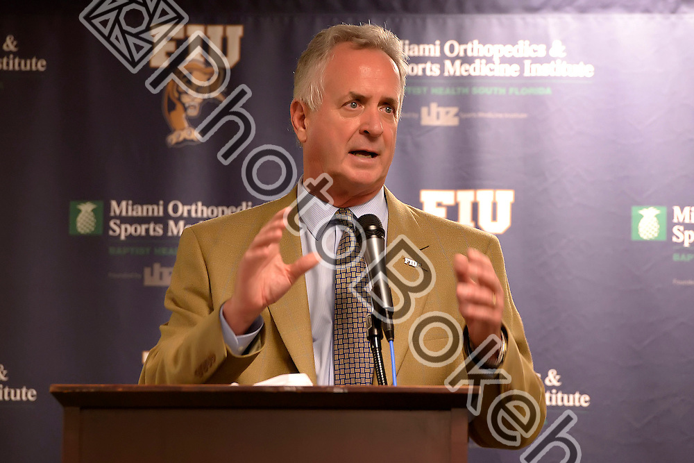 2016 February 03 - FIU football head coach Ron Turner addressing fans during Signing Day at the FIU Stadium Club, Miami, Florida. (Photo by: Alex J. Hernandez / photobokeh.com) This image is copyright by PhotoBokeh.com and may not be reproduced or retransmitted without express written consent of PhotoBokeh.com. ©2016 PhotoBokeh.com - All Rights Reserved