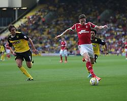 Nottingham Forest's Greg Halford is tracked by Watford's Gabriele Angella  - Photo mandatory by-line: Nigel Pitts-Drake/JMP - Tel: Mobile: 07966 386802 25/08/2013 - SPORT - FOOTBALL -Vicarage Road Stadium - Watford -  Watford v Nottingham Forest - Sky Bet Championship