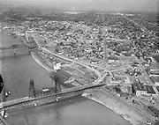 Y-551005-02.  aerial view of the proposed Exposition site (now Memorial Coliseum) between Broadway & Steel Bridges. Looking north. October 5, 1955.