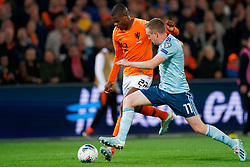 10-10-2019 NED: Netherlands - Northern Ireland, Rotterdam<br /> UEFA Qualifying round Group C match between Netherlands and Northern Ireland at De Kuip in Rotterdam / Denzel Dumfries #22 of the Netherlands, Shane Ferguson #11 of Northern Ireland