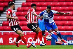 Jonah Ayunga of Bristol Rovers takes on Jordan Willis of Sunderland - Mandatory by-line: Robbie Stephenson/JMP - 12/09/2020 - FOOTBALL - Stadium of Light - Sunderland, England - Sunderland v Bristol Rovers - Sky Bet League One