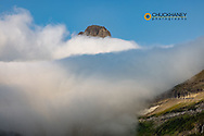 Clements Mountain peaks through the cloud bank at Logan Pass in Glacier National Park, USA