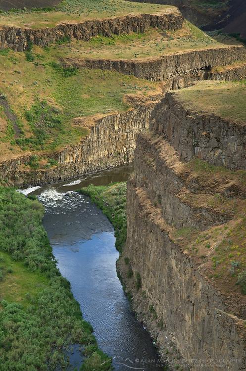 Palouse River flowing through layered basalt flows of the Columbia Plateau Washington