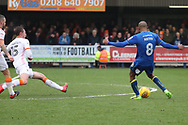 AFC Wimbledon midfielder Jimmy Abdou (8) with a shot on goal during the EFL Sky Bet League 1 match between AFC Wimbledon and Blackpool at the Cherry Red Records Stadium, Kingston, England on 20 January 2018. Photo by Matthew Redman.