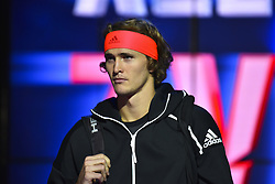 November 16, 2018 - London, United Kingdom - Alexander Zverev of Germany enters the court before his round robin match against John Isner of the US during Day Six of the Nitto ATP Finals at The O2 Arena on November 16, 2018 in London, England. (Credit Image: © Alberto Pezzali/NurPhoto via ZUMA Press)