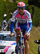 France, Talloire, 23 July 2009: David Loosli (Swi) Lampre - NGC on the Côte de Bluffy during Stage 18 - a 40.5 km Annecy to Annecy individual time trial. Photo by Peter Horrell / http://peterhorrell.com .