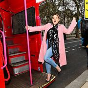 Nadia Essex attend Celeb Bri Tea, on board the BB Bakery bus on 22 March 2019, London, UK.