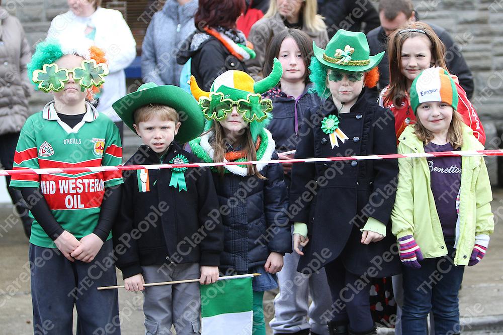 Darragh Keogh, Niall Melody, Siofra Keogh, Niamh Melody, Ella Moloney & Rosín Keogh at The Tulla Parade. - Photograph by Flann Howard
