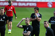 Chris Coleman, the Wales manager © is deep in thought during the Wales football team training at the Cardiff city Stadium in Cardiff , South Wales on Friday 1st September 2017.  the team are preparing for their FIFA World Cup qualifier home to Austria tomorrow.  pic by Andrew Orchard, Andrew Orchard sports photography