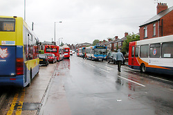 Flooding Ecclesfield Sheffield South Yorkshire - The Common Stagecoach buses parked up between The Common and Minster road, unable to make it through the flooding back to the depot after floods cause bus services to be cancelled.25 June 2007.Image COPYRIGHT Paul David Drabble..
