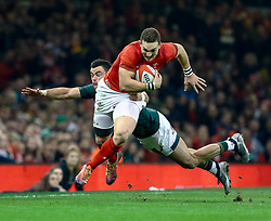 George North of Wales is tackled by  Jesse Kriel of South Africa<br /> <br /> Photographer Simon King/Replay Images<br /> <br /> Under Armour Series - Wales v South Africa - Saturday 24th November 2018 - Principality Stadium - Cardiff<br /> <br /> World Copyright © Replay Images . All rights reserved. info@replayimages.co.uk - http://replayimages.co.uk