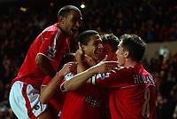 Photo. Daniel Hambury.<br /> Barclays Premiership.<br /> Charlton Athletic v Fulham. 20/12/2004.<br /> Charlton's Talal El Karkouri celebrates his goal with team mates