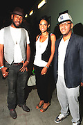 September 22, 2012- Los Angeles, CA:  (L-R) Anthony Marshall, Co-founder & Producer, Lyricist Lounge, Recording Artist Goapelle and Danny Castro, Co-founder  Producer, Lyricists Lounge backstage at the Lyricist Lounge 20th Year Reunion Party-Los Angeles held at Club Nokia at LA Live on September 22, 2012 in Los Angeles, California. The Lyricist Lounge is a hip hop showcase of rappers, emcees, DJ's, and Graffiti artists. It was founded in 1991 by hip hop aficionados Danny Castro and Anthony Marshall. It was a series of open mic events hosted in a small studio apartment in the Lower East Side section of New York City. (Terrence Jennings)