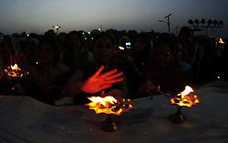 June 4, 2017 - Allahabad, Uttar Pradesh, India - Allahabad: Hindu Devotee offer prayer on the occasoin of Ganga Dussehra festival celebration at bank of River Ganga in Allahabad on 04-06-2017. Photo by prabhat kumar verma (Credit Image: © Prabhat Kumar Verma via ZUMA Wire)