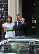© licensed to London News Pictures. LONDON, UK.  21/06/11. David and Samantha Cameron wave goodbye tot he Queen as she leaves. The Queen and Duke of Edinburgh visit Number 10 Downing Street for Lunch with British Prime Minister, David Cameron and his wife Samantha. Visits to the street by the Queen are rare with the last time being in 2002 when Tony Blair was Prime Minister.. Mandatory Credit Stephen Simpson/LNP