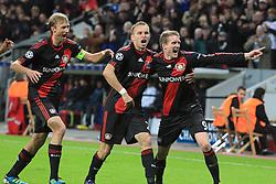 19.10.2011, BayArena, Leverkusen, GER, UEFA CL, Gruppe E, Bayer Leverkusen (GER) vs Valencia CF (ESP), im Bild.Torjubel / Jubel  nach dem 1:1 durch Andre Schürrle (Leverkusen #9) (R) mit Michal Kadlec (Leverkusen #24) und Simon Rolfes (Leverkusen #6) (L) ..// during the UEFA CL, group E, Bayer 04 Leverkusen (GER) vs Valencia CF (ESP) on 2011/10/19, at BayArena, Leverkusen, Germany. EXPA Pictures © 2011, PhotoCredit: EXPA/ nph/  Mueller       ****** out of GER / CRO  / BEL ******