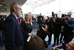© Licensed to London News Pictures. 6/02/2016. Belfast, Northern Ireland, UK. Sinn Fein's leader in the North of Ireland Michelle O'Neill chats with the Party President Gerry Adams before the Launch of their Candicates for the forth coming elections in Northern Ireland. The fallout from the RHI scandal surrounding the scheme, which is approximately £490m over budget, resulted in the resignation of Sinn Fein's deputy first minister, Martin McGuinness, the collapse of Stormont's institutions and the calling of snap elections on 2 March.  Photo credit : Paul McErlane/LNP