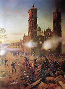 French invervention in Mexico:  Battle of Puebla, 5 May 1862 (Battle of Cinco de Mayo).  The French under General Charles Lorencez were decisively by the Mexican army under General Ignacio Zaragoza.    The fortified monastery of Guadalupe as General Porfirio Díaz leads a detachment of Mexican cavalry in a charge against  French troops.
