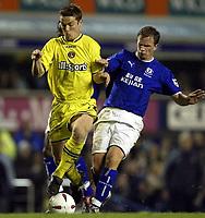Photo. Aidan Ellis.<br />Everton v Charlton. <br />Carling Cup Round 3.<br />29/10/2003.<br />Everton's Tobias Linderoth and Charlton's Scott Parker