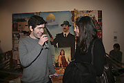Justin Coombes and Kim Schoen, Misadventure In the Middle East. Travels As a Tramp, Artist and Spy by Henry Hemming. Book launch and exhibition. Paradise Row. London. E2.  -DO NOT ARCHIVE-© Copyright Photograph by Dafydd Jones. 248 Clapham Rd. London SW9 0PZ. Tel 0207 820 0771. www.dafjones.com.
