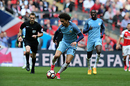 Leroy Sane of Manchester city in action. The Emirates FA Cup semi-final match, Arsenal v Manchester city at Wembley Stadium in London on Sunday 23rd April 2017.<br /> pic by Andrew Orchard,  Andrew Orchard sports photography.