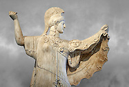 Roman statue of goddes Athena from the tablinum of the Villa of the Papyri in Herculaneum, Museum of Archaeology, Italy .<br /> .<br /> <br /> If you prefer to buy from our ALAMY STOCK LIBRARY page at https://www.alamy.com/portfolio/paul-williams-funkystock/greco-roman-sculptures.html . Type -    Naples    - into LOWER SEARCH WITHIN GALLERY box - Refine search by adding a subject, place, background colour, etc.<br /> <br /> Visit our ROMAN WORLD PHOTO COLLECTIONS for more photos to download or buy as wall art prints https://funkystock.photoshelter.com/gallery-collection/The-Romans-Art-Artefacts-Antiquities-Historic-Sites-Pictures-Images/C0000r2uLJJo9_s0