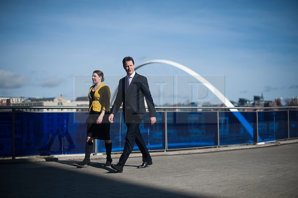 © London News Pictures. 11/03/2012.  Gateshead, UK. Member of Parliament for East Dunbarton JO SWINSON and Leader of the Liberal Democrats NICK CLEGG entering the Liberal Democrat Spring conference at the Sage Gateshead on March 11th, 2012. Photo credit : Ben Cawthra/LNP