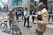 LDP candidate, Kenji Nakanishi electioneering for the 2016 Japanese Upper House elections in Motomachi, Yokohama, Kanagawa, Japan. Saturday July 2nd 2016