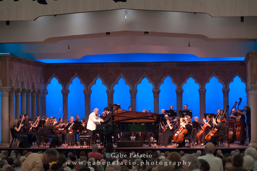 Emanuel Ax performs with the Orchestra of St. Luke's and conductor Pablo Heras-Casado in the Venetian Theater at Caramoor on July 15, 2012..photo by Gabe Palacio