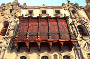PERU, LIMA, COLONIAL ARCHITECTURE the Archbishop's Palace with beautiful carved wooden balconys next to the Cathedral on the Plaza de Armas