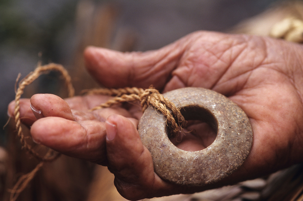 John Mangabchan, owner of smallest Rai in the world, Stone money, Yap, Wa`ab, Waqab, Federated States of Micronesia, islands in the Caroline Islands