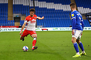 Millwall's Ryan Leonard (18) prepares to cross a ball during the EFL Sky Bet Championship match between Cardiff City and Millwall at the Cardiff City Stadium, Cardiff, Wales on 30 January 2021.