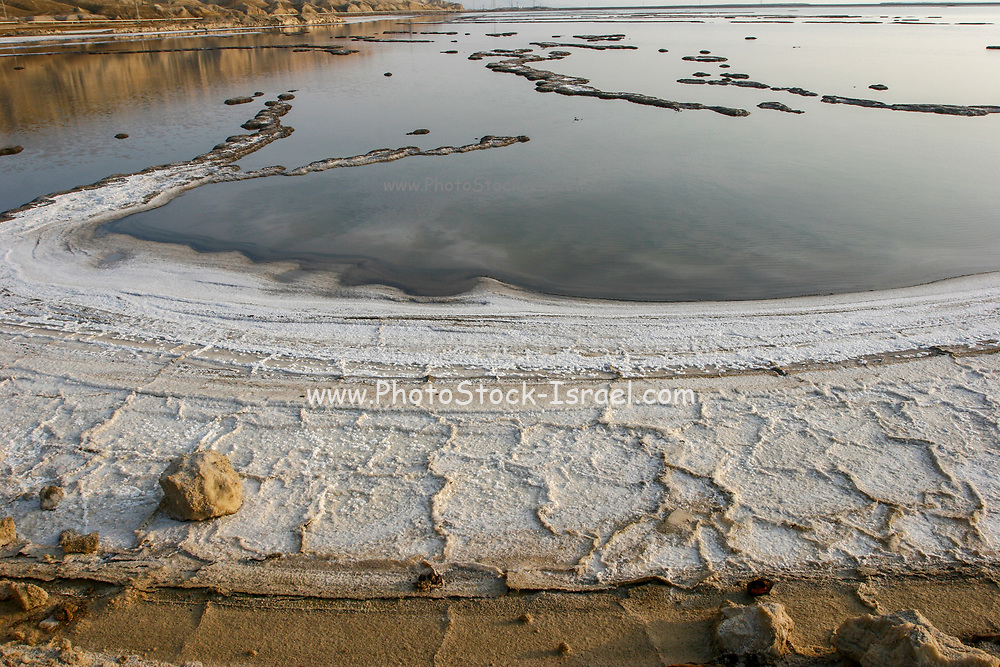 Salt formation on the shore of the Dead Sea, Israel