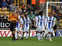 Photo: Rich Eaton.<br /> <br /> Wolverhampton Wanderers v Sheffield Wednesday. Coca Cola Championship. 28/10/2006. Wade Small #15 of Shefield Wednesday is congratulated after scoring the first half goal to equalise at 1-1