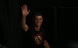 BEIJING, July 19, 2018  Portuguese football player Cristiano Ronaldo greets fans as he attends a promotional event in Beijing, capital of China, on July 19, 2018. (Credit Image: © Cao Can/Xinhua via ZUMA Wire)