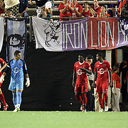 The Orlando City Lions return after halftime during the United Soccer League Pro American Division Championship soccer match between the Richmond Kickers and the Orlando City Lions at the Florida Citrus Bowl on August 27, 2011 in Orlando, Florida. Orlando won the match 3-0 to advance to the USL Pro Final.  (AP Photo/Alex Menendez)