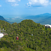 Cable car station, cabs and rope on Langkawi mount Gunung Machinchang, Langkawi, Malaysia