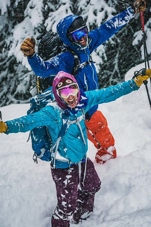 Over 45cm's fell during a 12 hour period at Burnie Glacier, British Columbia, and Emily Bodner  and Joe Morabito do their happy dance.