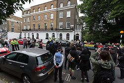 © Licensed to London News Pictures. 15/07/2016. LONDON, UK. Demonstrators from Class War stage a protest outside Foreign Secretary, Boris Johnson's house in north London against Boris Johnson's appointment as Foreign secretary, claiming he is racist.  Scuffles broke out between a passer by who supported Boris Johnson, protesters and police. Photo credit: Vickie Flores/LNP