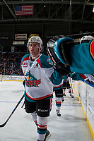 KELOWNA, CANADA - FEBRUARY 12: Dillon Dube #19 of the Kelowna Rockets high fives the bench after a goal against the Victoria Royals  on February 12, 2018 at Prospera Place in Kelowna, British Columbia, Canada.  (Photo by Marissa Baecker/Shoot the Breeze)  *** Local Caption ***