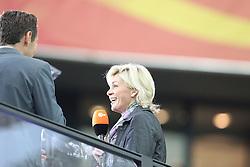 13.07.2011, Commerzbank Arena, Frankfurt, GER, FIFA Women Worldcup 2011, Halbfinale,  Japan (JPN) vs. Schweden (SWE), im Bild.Bundestrainerin Silvia Neid (R) beim ZDF lacht... // during the FIFA Women´s Worldcup 2011, Semifinal, Japan vs Sweden on 2011/07/13, Commerzbank Arena, Frankfurt, Germany.   EXPA Pictures © 2011, PhotoCredit: EXPA/ nph/  Mueller       ****** out of GER / CRO  / BEL ******