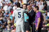 Real Madrid's Raphael Varane and Real Madrid's coach Zinedine Zidane urign the match of La Liga between Real Madrid and SD Eibar at Santiago Bernabeu Stadium in Madrid. October 02, 2016. (ALTERPHOTOS/Rodrigo Jimenez)