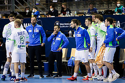 Uros Zorman, assistant coach of Slovenia, Ljubomir Vranjes, head coach of Slovenia during handball match between National Teams of Germany and Slovenia at Day 2 of IHF Men's Tokyo Olympic  Qualification tournament, on March 13, 2021 in Max-Schmeling-Halle, Berlin, Germany. Photo by Vid Ponikvar / Sportida