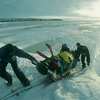 Dog team mushes across frozen Great Slave Lake, NWT, Canada.